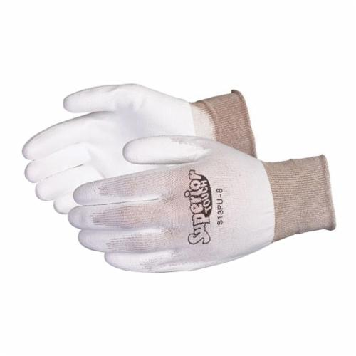 Superior Touch® S13PU-10 General Purpose Gloves, Coated, SZ 10, Polyurethane Palm, 13 ga Nylon, White, Knit Wrist Cuff, Polyurethane Coating, Resists: Cut and Puncture, Unlined Lining, Seamless