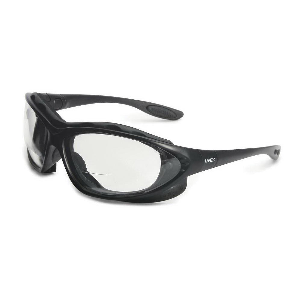 Uvex® by Honeywell S0662X Bi-Focal Lens Reader Protective Eyewear With Reading Magnifier, 2 Diopter, Clear Lens, Black, Polycarbonate Frame, Polycarbonate Lens, 99.9 % UV Protection, ANSI Z87+, CSA Z94.3