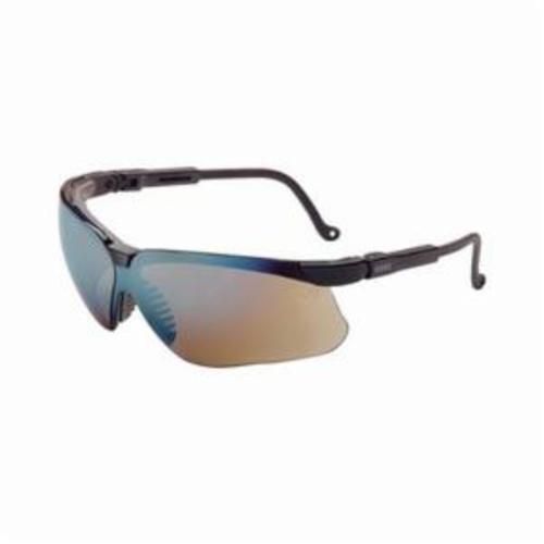 Uvex® by Honeywell S3203 Genesis® High Performance Safety Eyewear, Ultra-Dura® Anti-Scratch, Gold Mirror Lens, Wrap Around Frame, Black, Polycarbonate Frame, Polycarbonate Lens, ANSI Z87.1-1989, ANSI Z87.1-2003, CSA Z94.3, CA 18828, Military V0