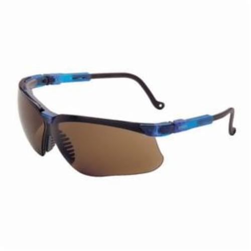 Uvex® by Honeywell S3241X Genesis® High Performance Safety Eyewear, Uvextreme® Anti-Fog, Espresso Lens, Wrap Around Frame, Vapor Blue, Polycarbonate Frame, Polycarbonate Lens, ANSI Z87.1-1989, ANSI Z87.1-2003, CSA Z94.3, CA 18828, Military V0