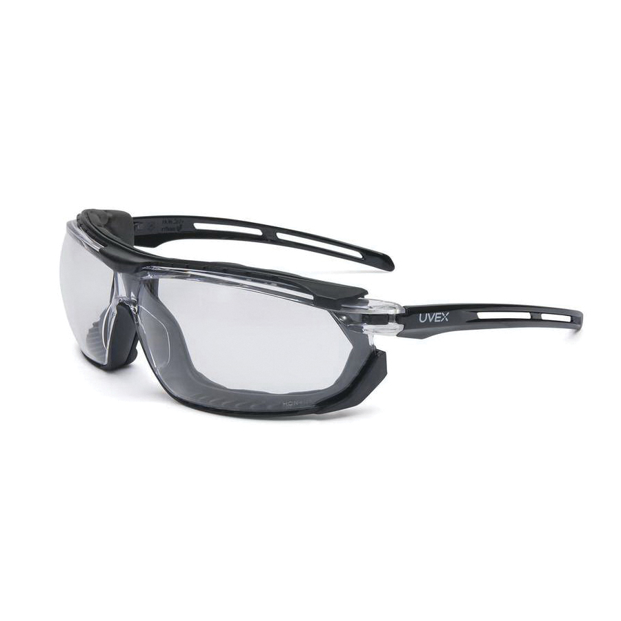 Uvex® by Honeywell S4040 Triade™ Sealed Eyewear, Uvextra® Anti-Fog, Clear Lens, Black, Foam Lined/Polycarbonate Frame, Polycarbonate Lens, ANSI Z87.1-2003, CSA Z94.3