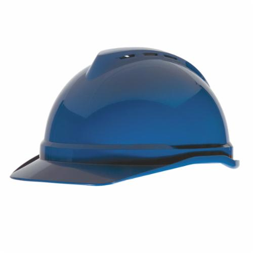 V-Gard® 10034019 500 Front Brim Vented Hard Hat, 6-1/2 in Fits Mini Hat, 8 in Fits Max Hat, Polyethylene, 4-Point Fas-Trac® III Suspension, ANSI Electrical Class Rating: Class C, ANSI Impact Rating: Type 1, Ratchet Adjustment, Blue