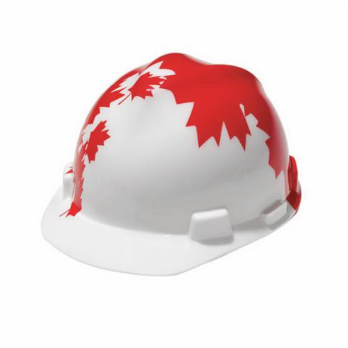 V-Gard® 10050613 Hard Hat With Red Maple Leaf, 6-1/2 in Fits Mini Hat, 8 in Fits Max Hat, Polyethylene, 4-Point Fas-Trac® III Suspension, ANSI Electrical Class Rating: Class E, ANSI Impact Rating: Type 1, Ratchet Adjustment