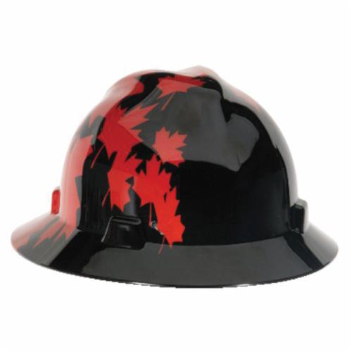 V-Gard® 10082235 Canadian Freedom Front Brim Protective Cap With Red Maple Leaf, Plastic, Ratchet Suspension, Black with Red Maple Leaf Graphics, Ratchet Adjustment