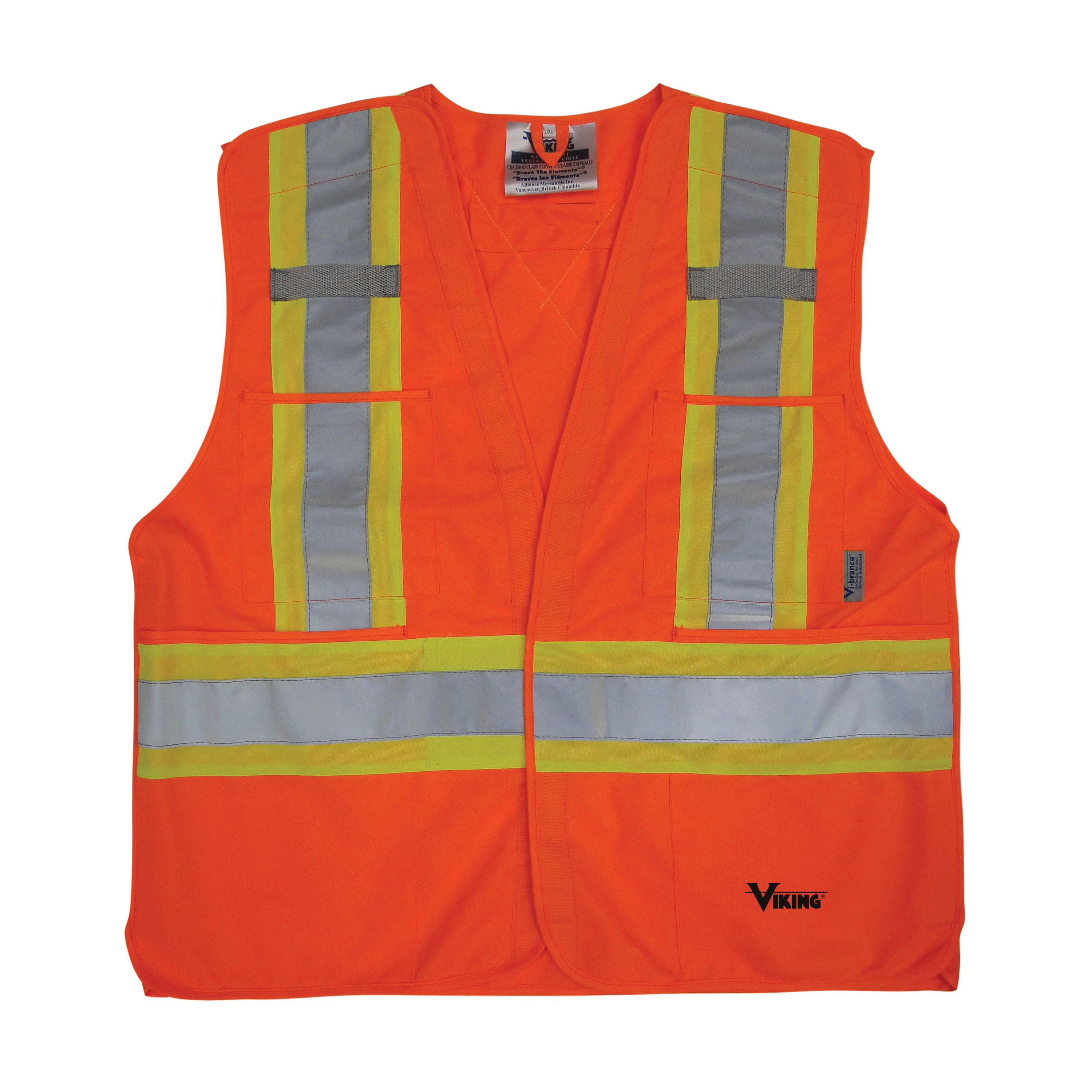 Viking® 6135O-2XL/3XL 5-Point High Visibility Tear Away Safety Vest, 2XL/3XL, Orange, Solid Polyester, Hook and Loop Closure, 4 Pockets, ANSI Class: 2, ANSI/ISEA 107-2015 Type R Class 2 (Not FR)