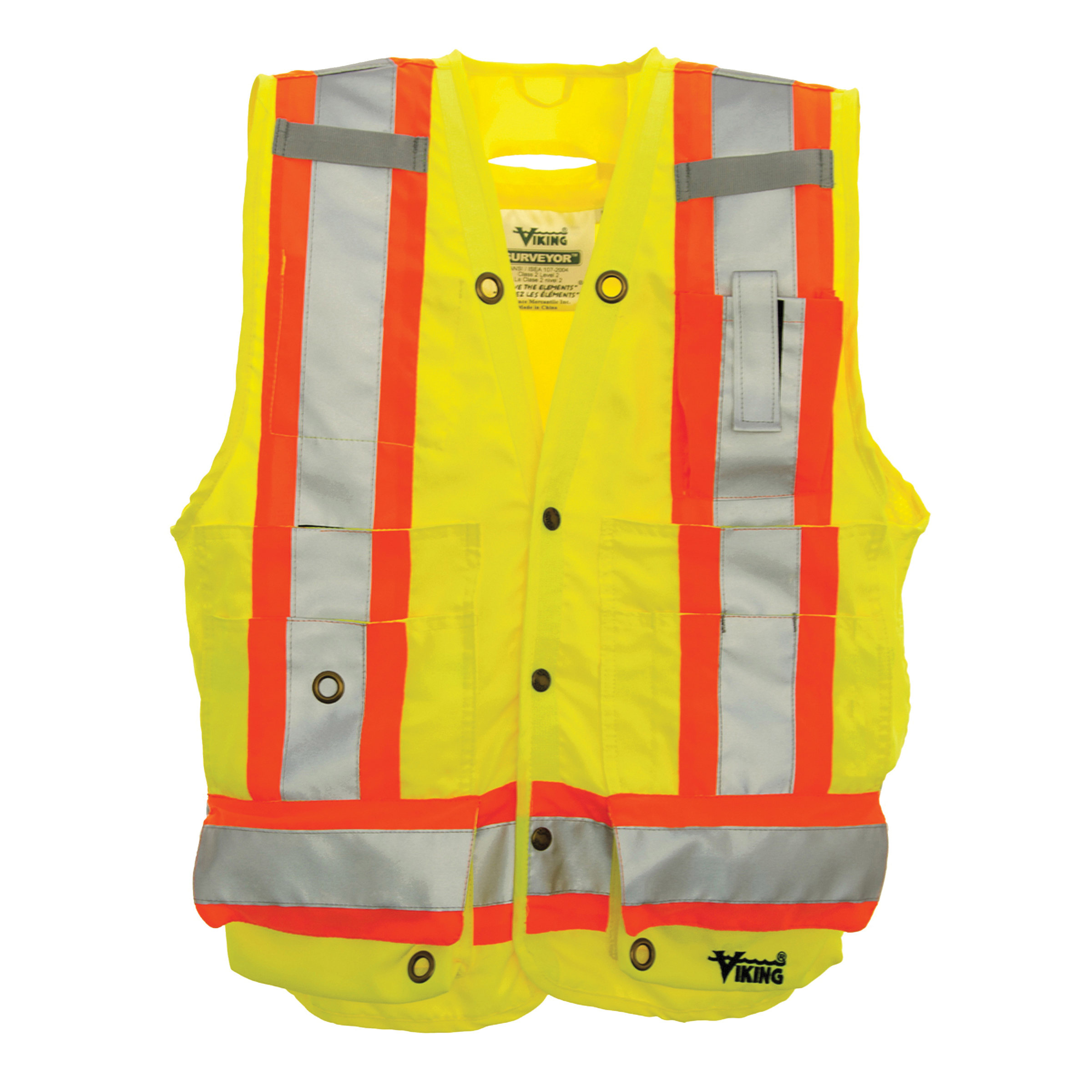 Viking® 6195G-M High Visibility Surveyor Safety Vest, M, Green, Polyester, Snap Closure, 13 Pockets, ANSI Class: 2, ANSI/ISEA 107-2015 Type R Class 2 (Not FR)