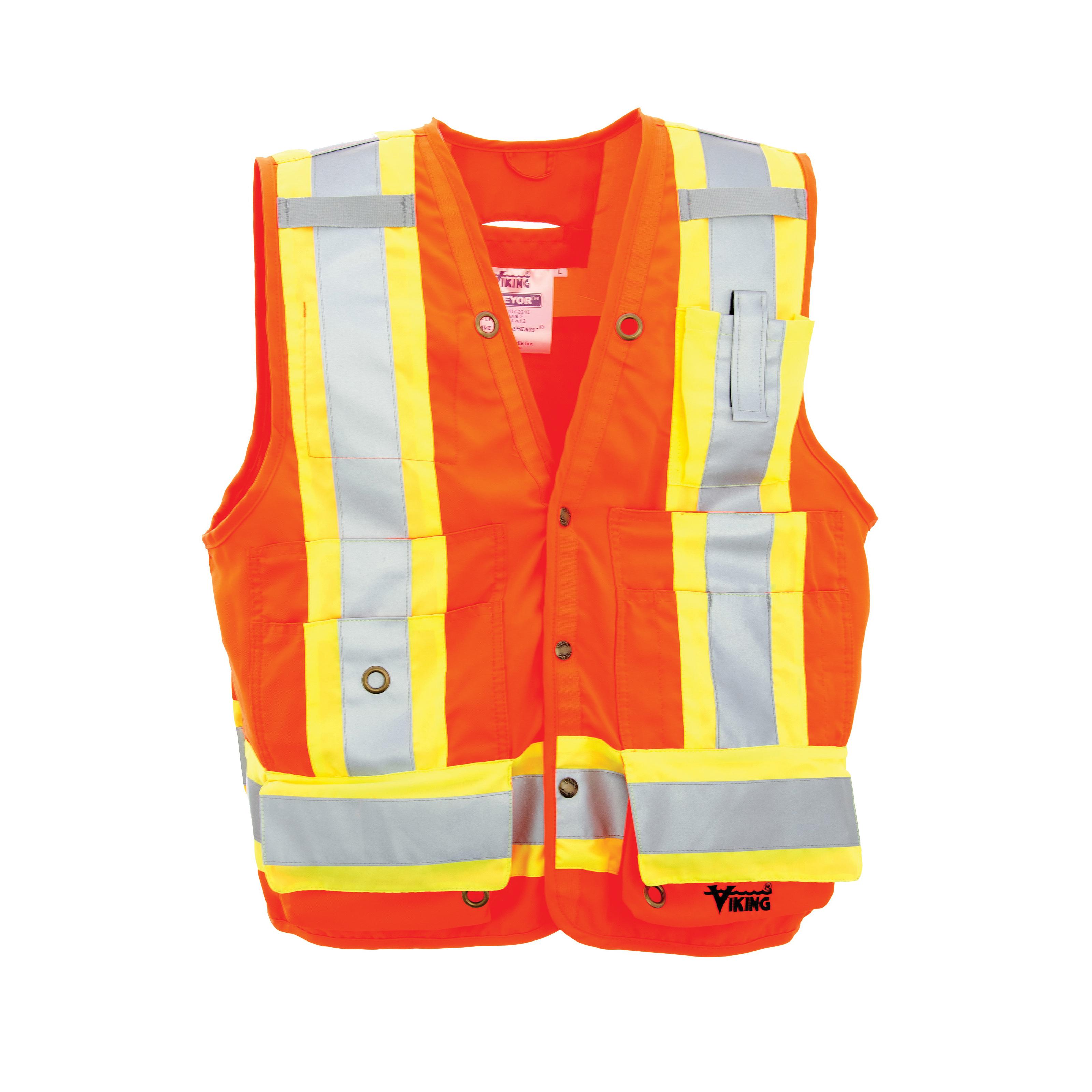 Viking® U6195O-2XL Surveyor Safety Vest, 2XL, Orange, Polyester, Front Snap Closure, 8 Pockets, ANSI Class: Class 2, ANSI/ISEA 107-2015 Type R