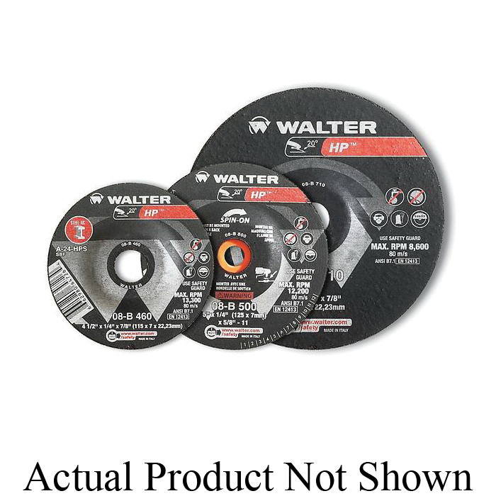 Walter Surface Technologies 08B460 HP™ High Performance Depressed Center Wheel, 4-1/2 in Dia x 1/4 in THK, 7/8 in Center Hole, 24 Grit, Aluminum Oxide Abrasive