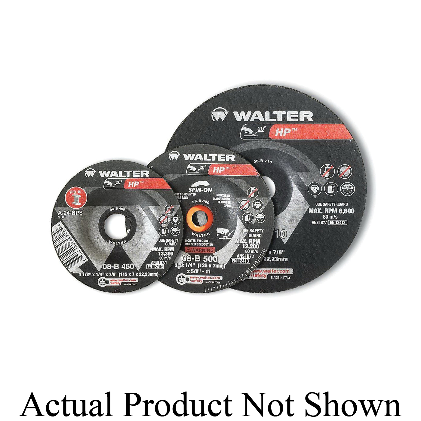 Walter Surface Technologies 08B462 HP COMBO™ High Performance Depressed Center Wheel, 4-1/2 in Dia x 1/8 in THK, 7/8 in Center Hole, 30 Grit, Aluminum Oxide Abrasive