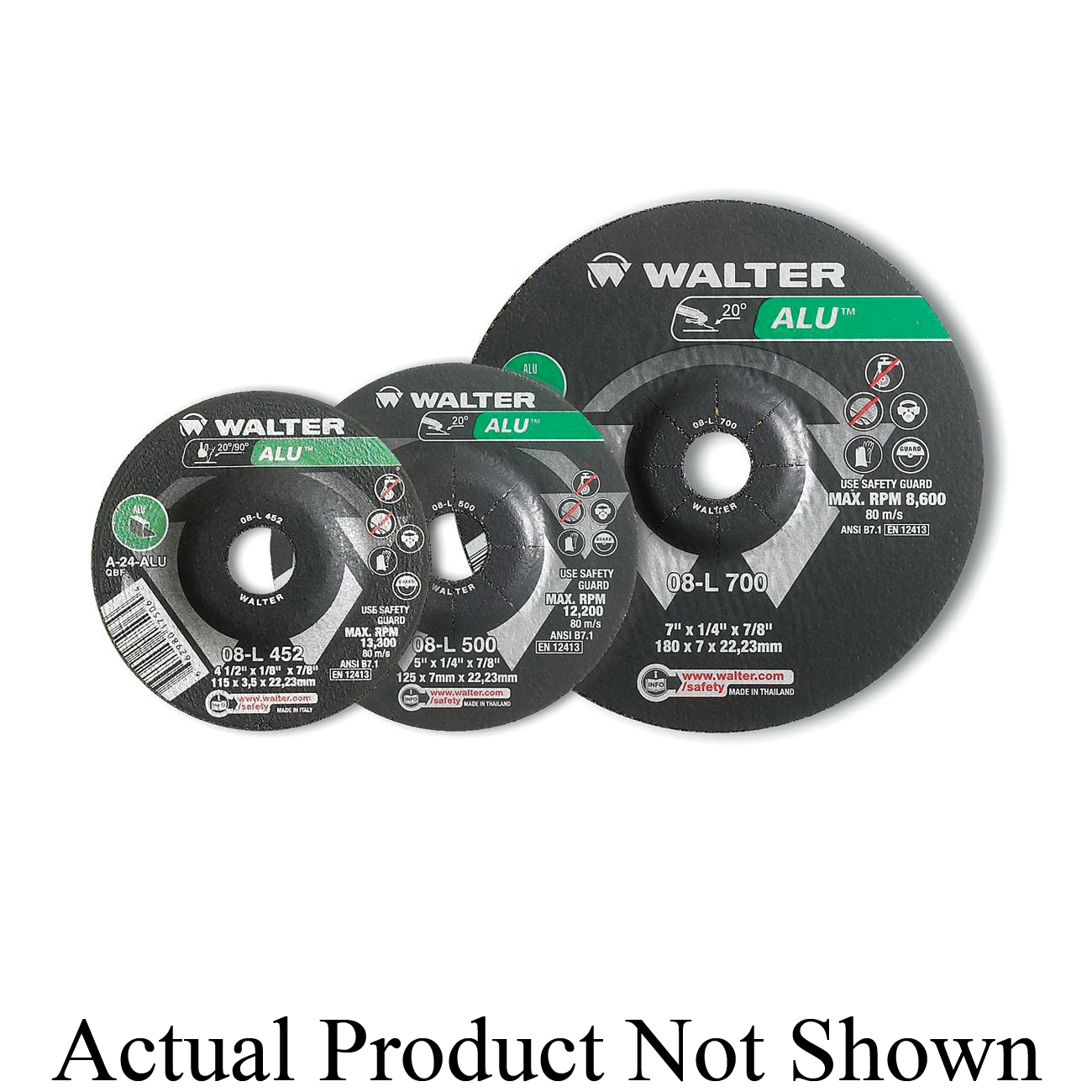 Walter Surface Technologies 08L450 ALU™ Flat Depressed Center Wheel, 4-1/2 in Dia x 1/4 in THK, 7/8 in Center Hole, 24 Grit, Aluminum Oxide Abrasive