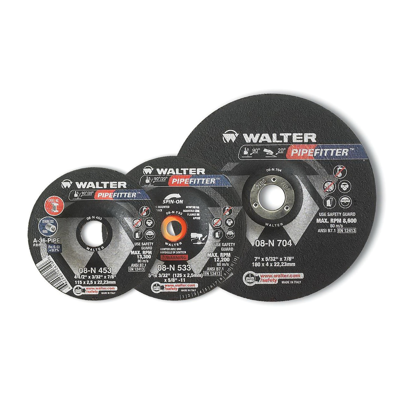 Walter Surface Technologies PIPEFITTER™ 08N503 Depressed Center Wheel, 5 in Dia x 3/32 in THK, 7/8 in Center Hole, 36 Grit, Aluminum Oxide Abrasive