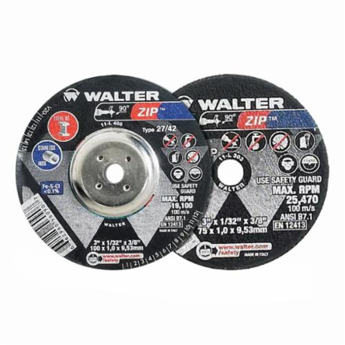 Walter Surface Technologies Zip™ 11T142 Zip™ High Performance Type 27 Cut-Off Wheel, 4-1/2 in Dia x 3/64 in THK, 7/8 in Center Hole, A-60-ZIP Grit, Aluminum Oxide Abrasive