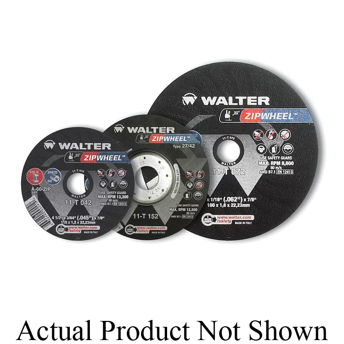 Walter Surface Technologies ZIP WHEEL™ 11T152 High Performance Cut-Off Wheel, 5 in Dia x 3/64 in THK, 7/8 in Center Hole, A-60-ZIP Grit, Aluminum Oxide Abrasive