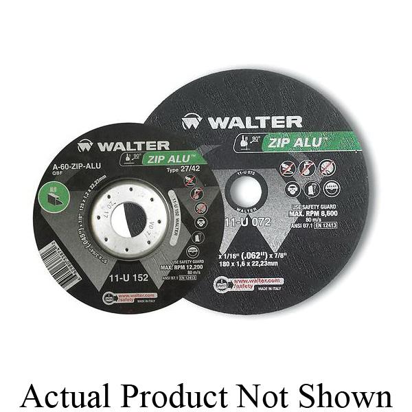 Walter Surface Technologies ZIP ALU™ 11U042 Cut-Off Wheel, 4-1/2 in Dia x 3/64 in THK, 7/8 in Center Hole, A-60-ZIP ALU Grit, Aluminum Oxide Abrasive