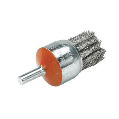 Walter Surface Technologies 13-C 020 Straight Mount End Brush, 1-1/8 in, Twist Knot, 0.02 in, Steel Fill