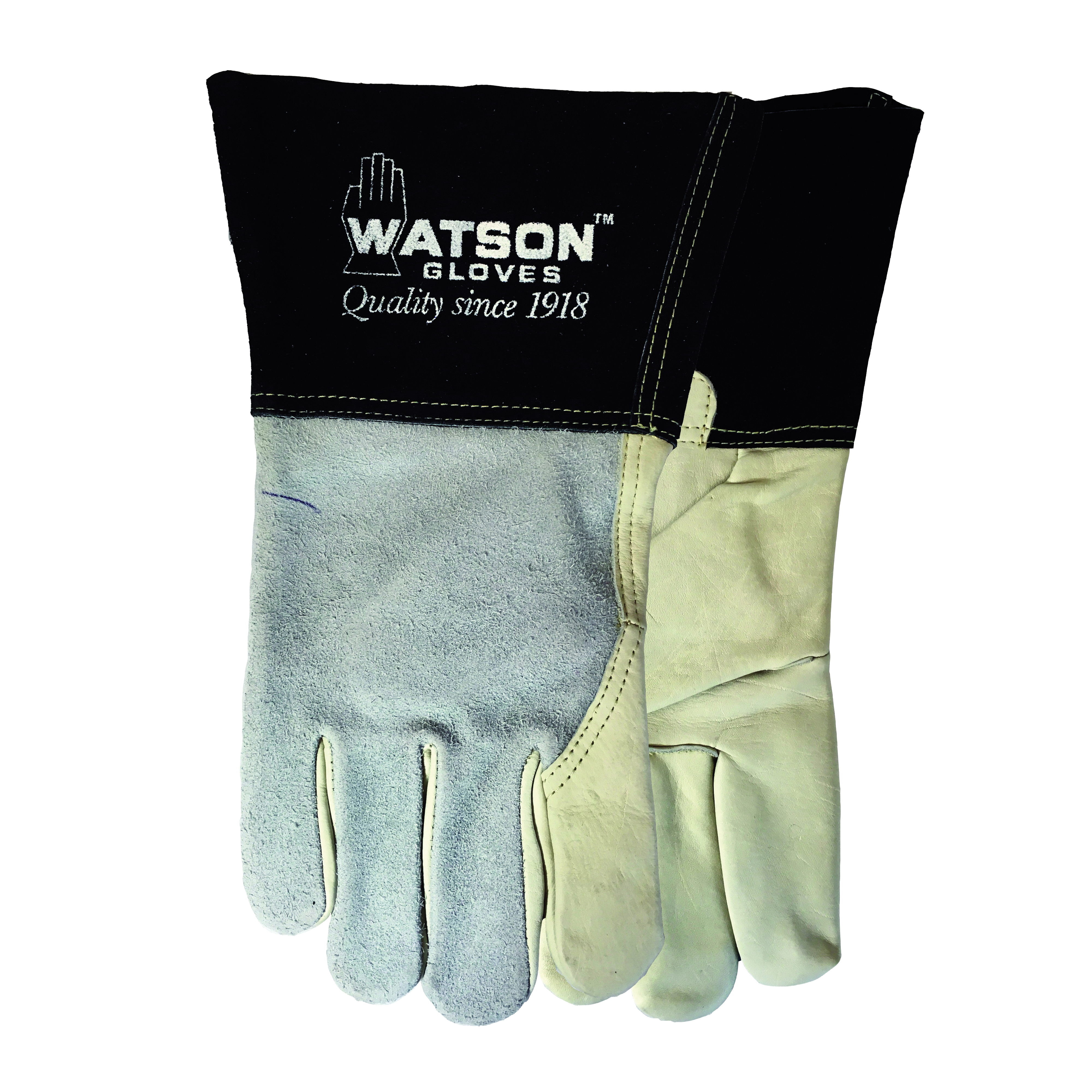 Watson 2757-M Fabulous Fabricator 2757 Welding Gloves, M, Split Cowhide Leather, Gray, Cotton/Fleece Lining, Gauntlet Cuff, 14 in L