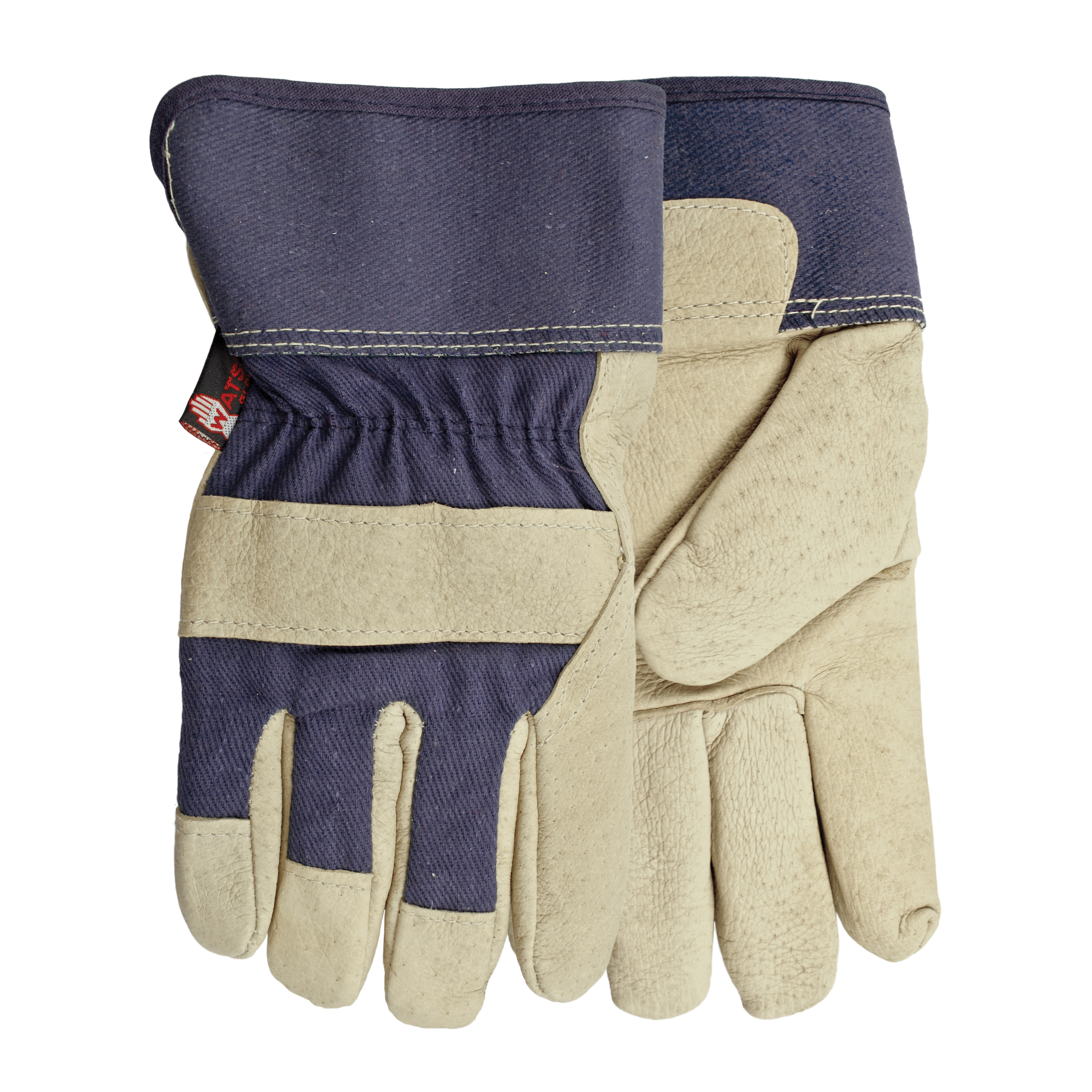 Watson 6266-OS Ms. Liberty Women's General Purpose Gloves 6266, Leather Combo, Hooded Fingertips Style, Universal, Full Grain Pigskin Leather Palm, Cotton/Premium Full Grain Pigskin Leather, Blue, Shirred Elastic/Safety Cuff