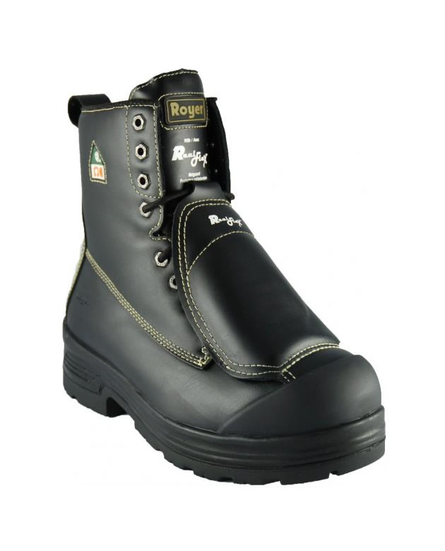 Workboot Royer External Metguard With Lenzi Plate And Steel Toe, Leather Black - Black, 8