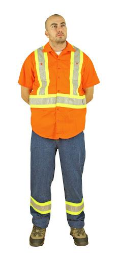"Work Shirt, short Sleeve, Orange, 4"" Stripe, Small"