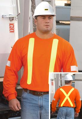 Long Sleeve Tshirt Fire Retardant Orange With Yellow Stripe - Large