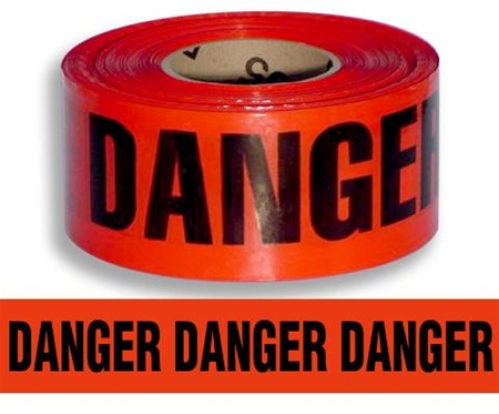 Barrier Tape , Danger, Red, 3In X 1000Ft