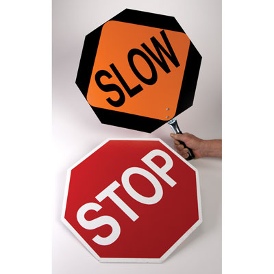 Sign Diamond Grade Stop/Slow With 5Ft Handle 2001 Reg.