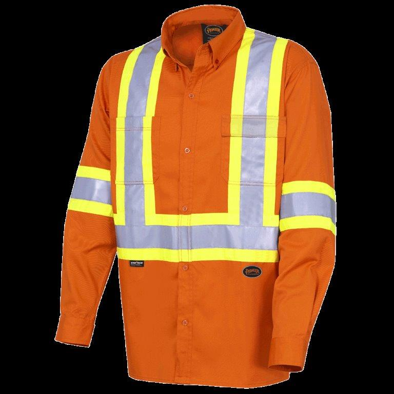 Hi-Viz Cotton Long-Sleeved Safety Shirt - Ultra-Cool - Cotton Twill