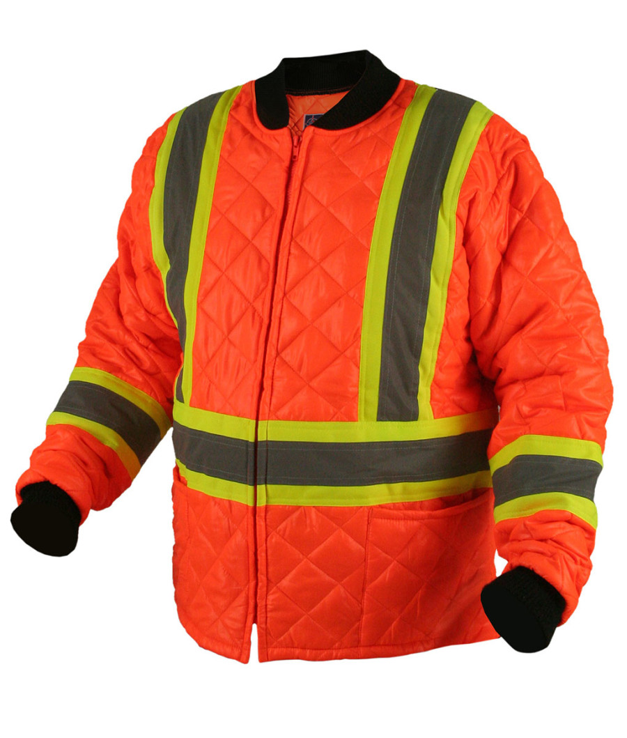 Quilted Jacket, Orange With Stripes, Ground Force - 3Xl